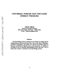 Universal Forces and the Dark Energy Problem