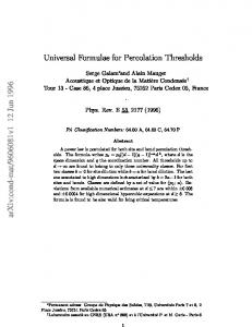 Universal Formulae for Percolation Thresholds