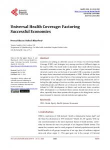 Universal Health Coverage: Factoring ... - Scientific Research Publishing