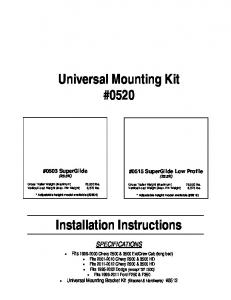 Universal Mounting Kit #0520 Installation Instructions