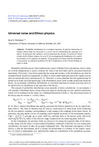 Universal noise and Efimov physics - EPJ Web of Conferences
