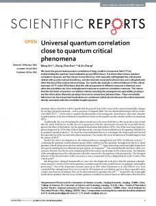 Universal quantum correlation close to quantum