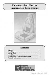 UNIVERSAL SEAT HEATER INSTALLATION INSTRUCTIONS