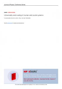 Universality and scaling in human and social systems