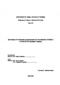 UNIVERSITA' DEGLI STUDI DI PARMA Synthesis of