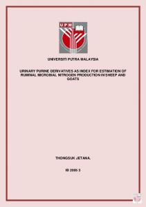 universiti putra malaysia urinary purine derivatives as index for ...