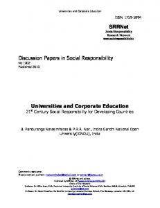 Universities and Corporate Education - Social Responsibility ...