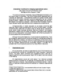 Universities: Conditions for changing organizational culture (PDF ...