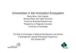 Universities in the Innovation Ecosystem