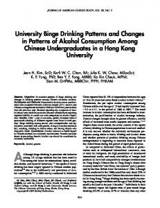 University Binge Drinking Patterns and Changes in Patterns of Alcohol ...