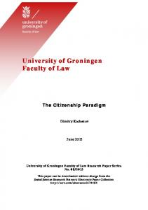 University of Groningen Faculty of Law - SSRN papers