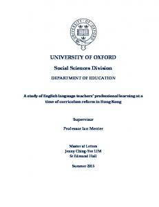 UNIVERSITY OF OXFORD Social Sciences Division