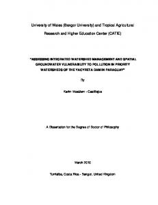 University of Wales (Bangor University) and Tropical Agricultural ...