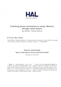 Unlocking private investments in energy efficiency through carbon ...