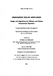 unmanned solar airplanes - ETH E-Collection