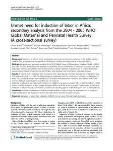 Unmet need for induction of labor in Africa - BioMedSearch