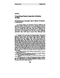Unpacking Patent Assertion Entities (PAEs) - Minnesota Law Review