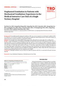 Unplanned Extubation in Patients with ... - KoreaMed Synapse
