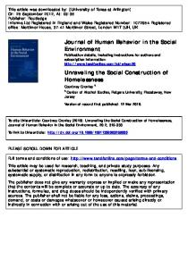 Unraveling the Social Construction of Homelessness