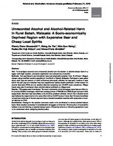 Unrecorded Alcohol and Alcohol-Related Harm in Rural Sabah ...