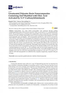Unsaturated Polyester Resin Nanocomposites Containing ZnO ... - MDPI