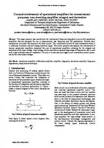 Unusual involvement of operational amplifiers for ... - wseas