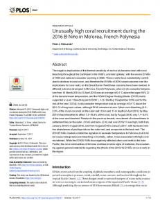 Unusually high coral recruitment during the 2016 ... - Semantic Scholar