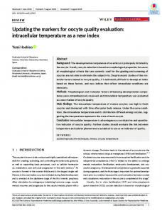 Updating the markers for oocyte quality evaluation - Wiley Online Library