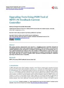 Upgrading Tests Using PSIM Tool of MPPT-PV Feedback-Current