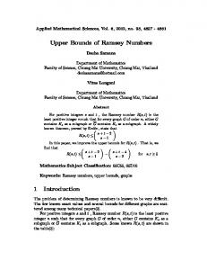 Upper Bounds of Ramsey Numbers 1 Introduction - m-hikari