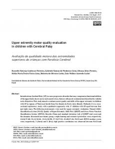 Upper extremity motor quality evaluation in children with Cerebral Palsy