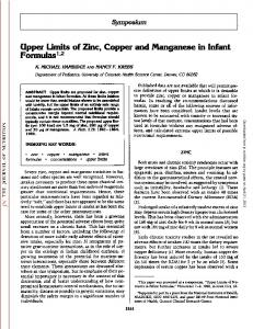 Upper Limits of Zinc, Copper and Manganese in Infant