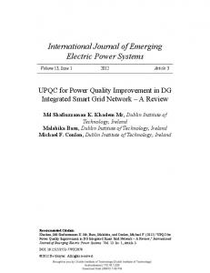 UPQC for Power Quality Improvement in DG Integrated Smart Grid ...
