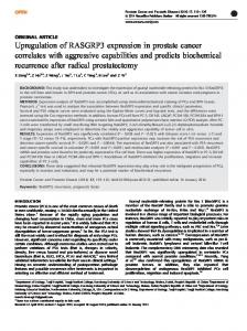 Upregulation of RASGRP3 expression in prostate ... - BioMedSearch