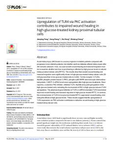 Upregulation of TLR4 via PKC activation contributes to ... - PLOS