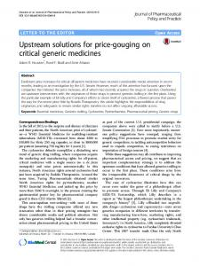 Upstream solutions for price-gouging on critical generic medicines ...