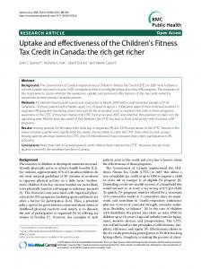 Uptake and effectiveness of the Children's Fitness ... - BioMed Central