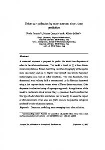 Urban air pollution by odor sources: short time prediction - Uniud