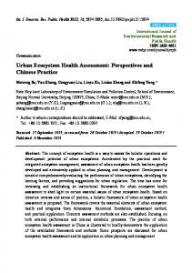 Urban Ecosystem Health Assessment: Perspectives and ... - MDPI