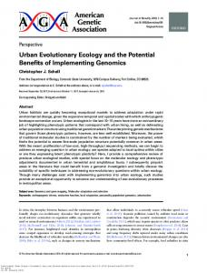 Urban Evolutionary Ecology and the Potential