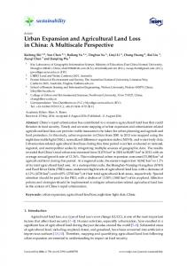 Urban Expansion and Agricultural Land Loss in China: A ... - MDPI