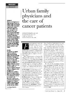 Urban family physicians and the care of cancer patients - NCBI