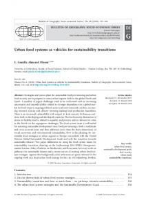Urban food systems as vehicles for sustainability transitions