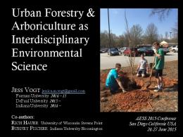 Urban Forestry & Arboriculture as Interdisciplinary ...