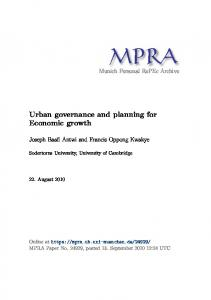 Urban governance and planning for Economic growth