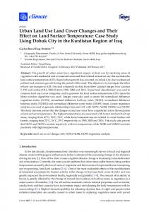 Urban Land Use Land Cover Changes and Their Effect on ... - MDPI