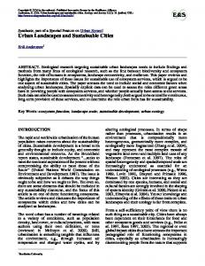 Urban Landscapes and Sustainable Cities - Ecology and Society