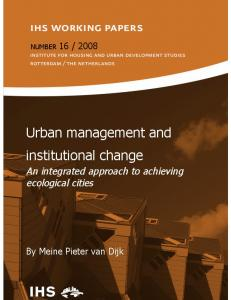 Urban management and institutional change - Institute for Housing ...