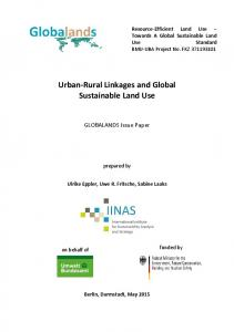 Urban-Rural Linkages and Global Sustainable Land Use - IINAS