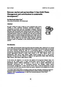 Urban Solid Waste Management and contributions to